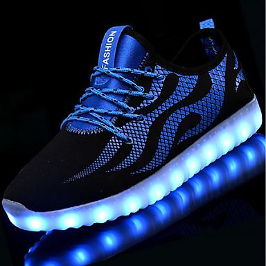 billige Toppsalg-Unisex Treningssko LED-sko Lav hæl Rund Tå LED Netting / Tyll Lysende sko Høst / Vinter Svart / Hvit / Blå og svart / EU41