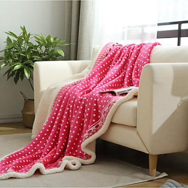 Korallenfleece Polka Dots Gemischte Polyester/Baumwolle Decken