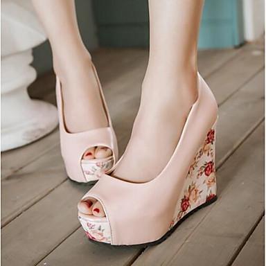 Damen Schuhe PU Sommer Komfort High Heels Für Normal Weiß Blau Rosa