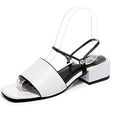 Damen Schuhe PU Sommer Komfort Sandalen Walking Niedriger Heel Offene Spitze für Normal Weiß Schwarz