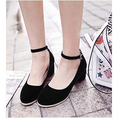 Damen Schuhe PU Frühling Komfort High Heels Für Normal Schwarz Rot Blau