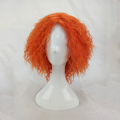 afro kinky curly wig synthetic hair woman medium length orange cosplay wigs high temperature fiber Halloween