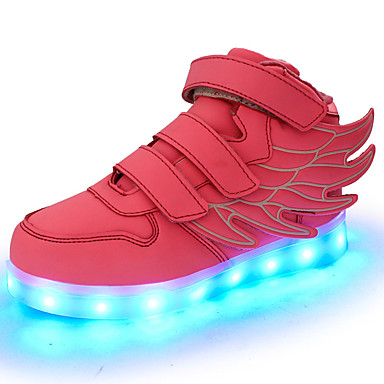 Girls' Shoes Leatherette Fall / Winter Comfort / Light Up Shoes Sneakers Walking Shoes LED for Green / Blue / Pink