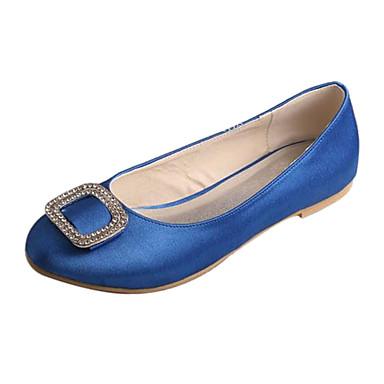 Női Cipő Streccs szatén Tavasz / Ősz Kényelmes Esküvői cipők Lapos Kerek orrú Kristály mert Esküvő / Party és Estélyi Fehér / Ezüst / Kék