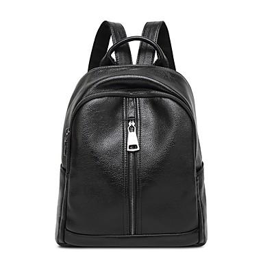 Women's Bags Sheepskin Backpack for Casual All Seasons Black