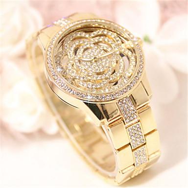 baratos Relógios Homem-Mulheres Simulado Diamante Relógio Quartzo Gravação Oca Lega Banda Flor Brilhante Prata Dourada