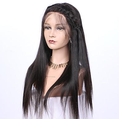 Echthaar Vollspitze Perücke Glatt Yaki 130% Dichte 100 % von Hand geknüpft Afro-amerikanische Perücke Natürlicher Haaransatz Kurz Medium