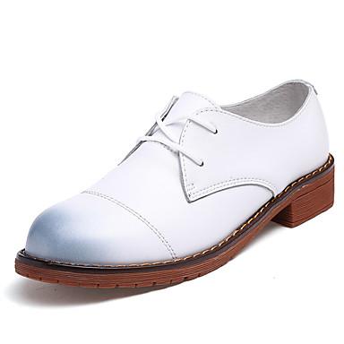 Damen Schuhe Leder Frühling Herbst Komfort Stiefel Flacher Absatz Runde Zehe Booties / Stiefeletten Schnürsenkel für Normal Kleid Büro &