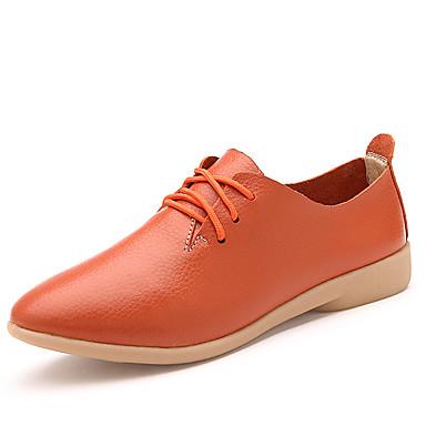 Damen Schuhe PU Frühling Sommer Komfort Outdoor Niedriger Heel für Normal Weiß Schwarz Orange Gelb
