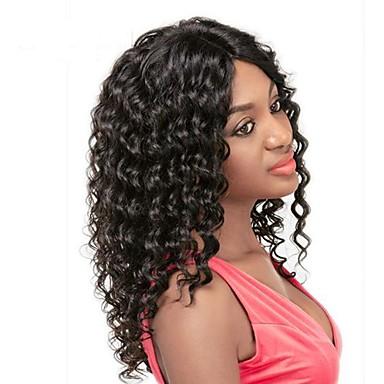 Haare mit intakter Kutikula (Remy Hair) Spitzeperücke Locken Spitzenfront Ohne Klebstoff und  Spitze in der Front 100 % von Hand geknüpft