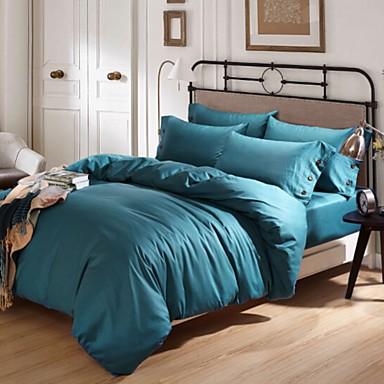 Solide 4 Stück Elasthan Elasthan 4-teilig (1 Bettbezug, 1 Bettlaken, 2 Kissenbezüge)