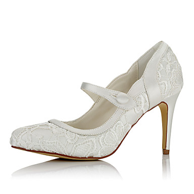Women's Shoes Net / Satin Fall / Winter Basic Pump Heels Stiletto Heel Pointed Toe Button Ivory / Wedding / Party & Evening