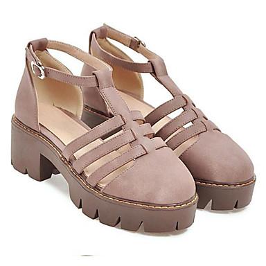 Damen Schuhe Nubukleder Frühling Sommer Komfort Sandalen für Normal Schwarz Gelb Mandelfarben