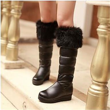 Damen Schuhe PU Herbst Winter Komfort Stiefel Für Normal Weiß Schwarz