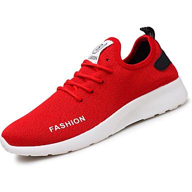 Herrn Schuhe PU Frühling Herbst Komfort Sportschuhe für Draussen Weiß Schwarz Rot
