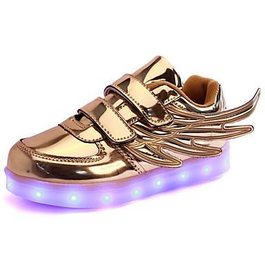 Jungen Sneaker Neuheit Leuchtende LED-Schuhe Kunststoff Herbst Winter Normal Kleid Party & Festivität Klett LED Flacher AbsatzGold Silber