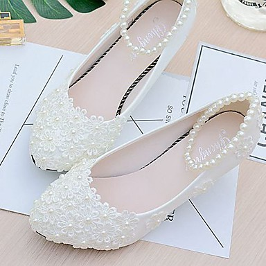 Women s Shoes Lace   PU(Polyurethane) Spring   Fall Slingback Wedding Shoes  Low Heel Beading   Imitation Pearl   Appliques White e16cb2946ee6