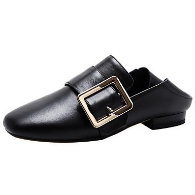 Damen Loafers & Slip-Ons formale Schuhe Komfort Echtes Leder Leder Herbst Winter Normal Kleid Schnalle Niedriger Absatz Weiß SchwarzUnter