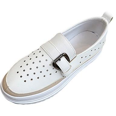 Damen Loafers & Slip-Ons Komfort Sommer Gummi Walking Flacher Absatz Weiß Schwarz Unter 2,5 cm