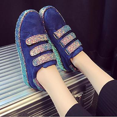 Damen Loafers & Slip-On Komfort Frühling Beflockung PU Normal Schwarz Blau 5 - 7 cm
