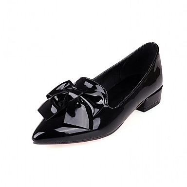 Damen Schuhe PU Kunstleder Sommer Herbst formale Schuhe Neuheit Komfort High Heels Walking Niedriger Heel Spitze Zehe Schleife für