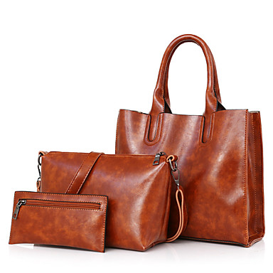 Women's Bags PU Bag Set for Casual Red / Gray / Brown