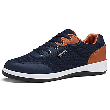 Herren Sneaker Komfort Tüll Frühling Herbst Normal Schnürsenkel Flacher Absatz Schwarz Grau Blau 7,5 - 9,5 cm