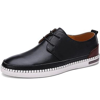 Férfi cipő PU Tavasz Ősz Könnyű talpak Félcipők Fűző mert Sport Fekete Világosbarna Sötétbarna