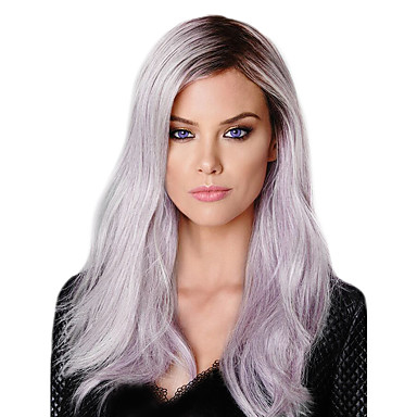 Synthetic Lace Front Wig Synthetic Hair Natural Hairline Wig Long Lace Front Black / Purple