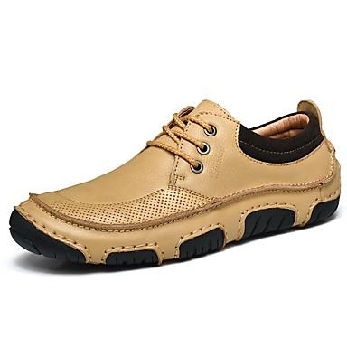 Men's Cowhide Summer / Fall Comfort Sneakers Light Yellow / Dark Brown