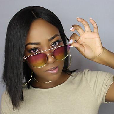 Emberi haj Csipke Paróka Egyenes 130% Sűrűség 100% kézi csomózású Afro-amerikai paróka Természetes hajszálvonal Rövid Közepes Női Emberi