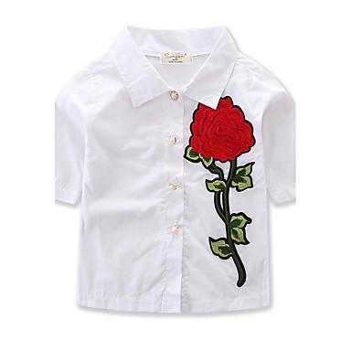 Kisgyermek Lány Virágos Egyszínű / Virág Féhosszú Pamut Ing