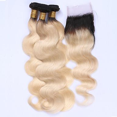 Brazilian Hair Body Wave Hair Weft with Closure Human Hair Weaves Black / Bleach Blonde Human Hair Extensions