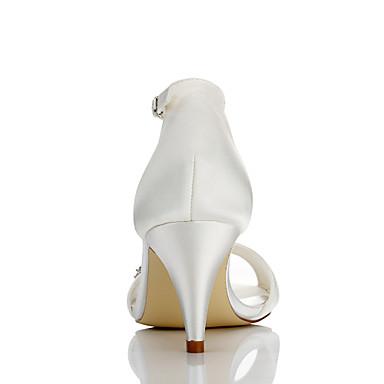 Femme Satin Soirée Ivoire Paillette Brillante Eté Sandales 06096482 Confort Mariage amp; Bout Automne ouvert Talon Cône Chaussures Evénement rF56qwr