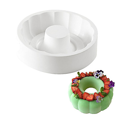 White Silicone Non-stick Round Paradise Cake Decorating Tools For Baking Brownie Chiffon Sponge Birthday Party Cakes Pan