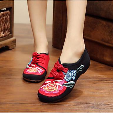 Damen Schuhe Stoff Frühling Komfort Flache Schuhe Für Normal Schwarz