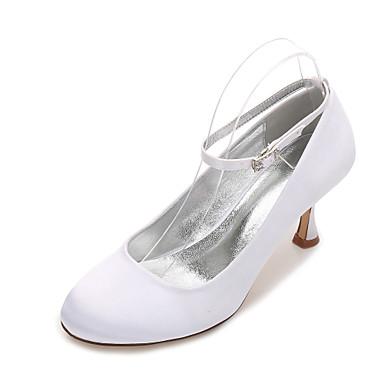 Damen Schuhe Satin Frühling / Sommer Komfort / Mary Jane Hochzeit Schuhe Kitten Heel-Absatz / Niedriger Heel / Stöckelabsatz Runde Zehe