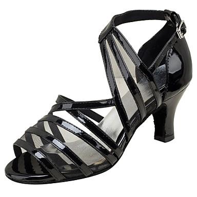 Női Latin cipők Bőrutánzat Szandál / Magassarkúk Professzionális Csat Személyre szabott sarok Személyre szabható Dance Shoes Fekete