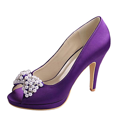 Women's Shoes Stretch Satin Spring / Summer Basic Pump Wedding Shoes Stiletto Heel Peep Toe Crystal / Bowknot Red / Dark Purple