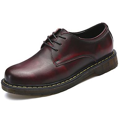 Férfi cipő PU Tavasz Ősz Könnyű talpak Félcipők Fűző mert Hétköznapi Barna Piros