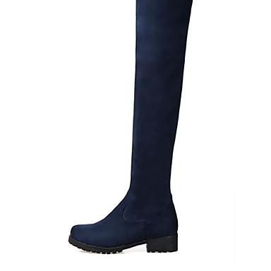 Damen Schuhe PU Herbst Winter Komfort Stiefel Blockabsatz Runde Zehe Für Normal Schwarz Blau Burgund