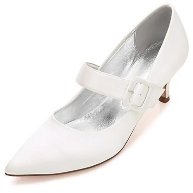 Women's Shoes Satin Spring / Summer Comfort / Basic Pump / Ankle Strap Wedding Shoes Kitten Heel / Cone Heel / Low Heel Pointed Toe Buckle