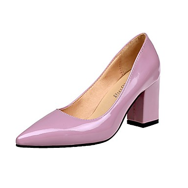 cheap Women's Heels-Women's Shoes PU(Polyurethane) Summer Comfort Heels Block Heel Pointed Toe Red / Pink / Burgundy / Dress