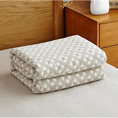Knitted, Printed Geometric Cotton Blend Blankets