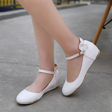 Damen Schuhe PU Sommer Herbst Komfort Flache Schuhe Flacher Absatz Runde Zehe Für Normal Weiß Grün Leicht Rosa