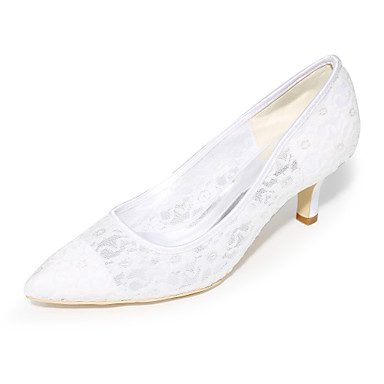 Women's Shoes Tulle Spring / Summer Basic Pump Wedding Shoes Stiletto Heel Pointed Toe Blue / Pink / Ivory / Party & Evening