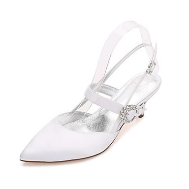Női Cipő Szatén Tavasz Nyár Kényelmes Magasított talpú Boka pántos Esküvői cipők Cicasarok Magas Alacsony Tűsarok Erősített lábujj