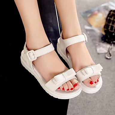 Damen Schuhe PU Sommer Komfort Sandalen Niedriger Absatz Runde Zehe Für Normal Weiß Blau Rosa