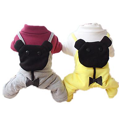Hund Overall Hundekleidung Solide Grau Gelb Baumwolle Kostüm Für Haustiere Lässig/Alltäglich