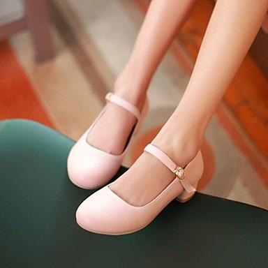 Damen Schuhe PU Frühling Komfort High Heels Blockabsatz Runde Zehe Für Normal Rosa Hellblau Mandelfarben